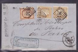 France N°59 X 2 & 38 Sur Lettre - 1871-1875 Cérès