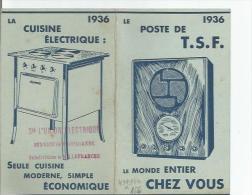 CALENDRIER PUBLICITAIRE (TOUT POUR L´ELECTRICITE) 1936  (CUISINIERE. POSTE DE  TSF) - Calendriers