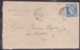 France N°60 Sur Lettre - 1871-1875 Cérès