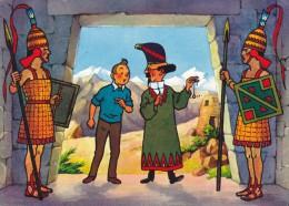 CPSM  TINTIN Et Le Temple Du Soleil En 1973 Par Hergé - Avec Le Professeur Tournesol Au Pays Des Incas - Pendule - TV Series