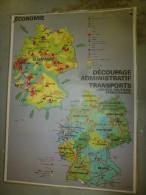 Carte Géographique Couleur (124cm X 90cm) Plastifiée 2 Faces  ALLEMAGNE économie, Relief, Transport..... - Geographical Maps