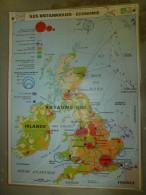 Carte Géographique Couleur (124cm X 90cm) Plastifiée 2 Faces UNITED KINDOM , IRLANDE (Royaume Uni) économie, Population - Geographical Maps