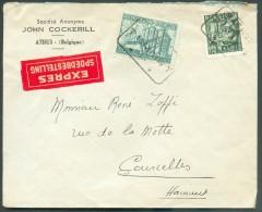 1Fr.75 Et 6Fr. Industrie Obl. Télégraphique ATHUS T * T Sur Lettre Exprès (Soc. John COCKERILL) Du 13-IX-1949 Vers Courc - 1948 Export