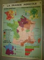 Carte Géographique Couleur (124cm X 90cm) Plastifiée 2 Faces  LA FRANCE AGRICOLE   (vignes, Blé , Cheptel....etc) - Geographical Maps