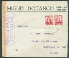 Lettre De GERONA Avec Affr. à  50 Cvos Vers Marchienne-Au-Pont (Belgica) + Cachet Violet REPUBLICA ESPANOLA CENSURA - 10 - 1931-Aujourd'hui: II. République - ....Juan Carlos I