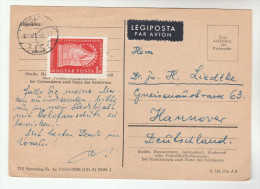 1957 Air Mail HUNGARY  COVER (card) 1ft Pioneers Stamps To Germany Airmail Label - Hungary