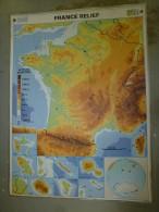 Carte Géographique Couleur (124cm X 90cm) Plastifiée 2 Faces  La FRANCE En Relief ,    La FRANCE Administrative - Geographical Maps