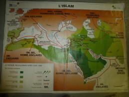 Carte Géographique Couleur (124cm X 90cm) Plastifiée 2 Faces  L' ISLAM , L'EMPIRE BYZANTIN - Cartes Géographiques