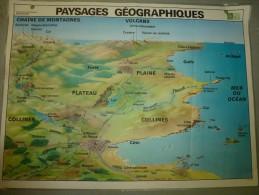Carte Géographique Couleur (124cm X 90cm) Plastifiée 2 Faces  PAYSAGES GEOGRAPHIQUES - Geographical Maps