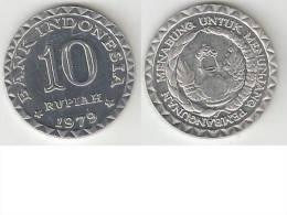 indonesia 10 rupiah 1979 km 44    bu