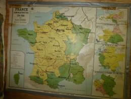 Carte Géographique Ancienne (chez Delagrave) Par L. André (130cm X 100cm) FRANCE Administ En 1789 Et L'EUROPE En 1815 - Geographical Maps