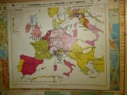 Carte Géographique Ancienne :EUROPE 1/2 Du 16e S, Grandes Découvertes (Lib Hatier, Cartogr R. Graindorge,Imp Michard - Geographical Maps