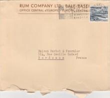 Suisse Yvert 490  Lettre Commerciale Illustrée Rum Company Rhum Stock Jamaïque Flamme Basel 8 Kindern 1953 - Switzerland