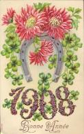 CP - Fantasie Fantaisie - Bonne Année - 1908 - Carte Gauffrée - - Neujahr