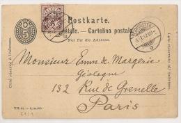 NEUMUSTER POSTKARTE Pour PARIS. 1892