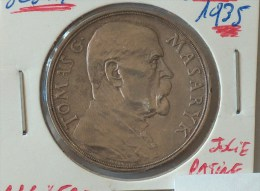 MEDAILLE TOMAS G MASARYK 1850 NA PAMET 85 NAROZENIN PRVNIHO PRESIDENTA REPUBLIKY CESKOSLOVENSKE 1935 Tchécoslovaquie - Royaux / De Noblesse