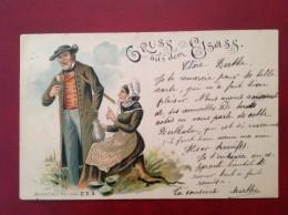 Gruss Aus Dem ELSASS + Cad DAMMERKIRCH Et BASEL Précurseur 1898 - Frankrijk