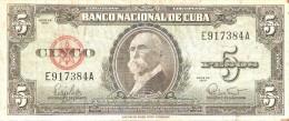 BILLETE DE CUBA DE 5 PESOS DEL AÑO 1960   (BANKNOTE)  MAXIMO GOMEZ - Cuba