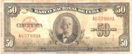 BILLETE DE CUBA DE 50 PESOS DEL AÑO 1950 DE CALIXTO GARCIA (BANKNOTE) - Cuba