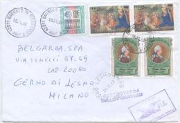 1997 VERRI L. 3600 COPPIA + ALTRI BUSTA 20.11.97 INTERESSANTE AFFRANCATURA IN TARIFFA POSTACELERE INTERNO L. 12.000 (FR1 - 1991-00: Storia Postale