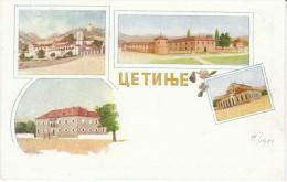 Cetinje цетйнъе Montenegro, Views Of Buildings In Town, C1900s Vintage Postcard - Montenegro