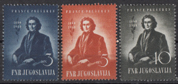 Joegoslavië - 100. Todestag Von Franc Prešerens, Sloveense Dichter - MNH - M 567-569 - Schrijvers