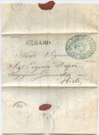 15 NOV 1860  FRANCHIGIA CON TESTO TIMBRO STEMMA SABAUDO PROVINCIA URBINO E PESARO L' INGEGNERE IN CAPO GOVERNATIVO (A603 - Sardegna