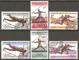 Congo - Kinshasa 1964 Mi# 169-174 Used - 18th Olympic Games, Tokyo - Summer 1964: Tokyo
