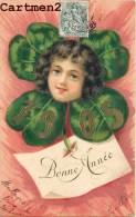 BELLE CPA GAUFFREE : BONNE-ANNEE 1905 ENFANT TREFLE A 4 FEUILLES NOUVEL-AN ENFANT FANTAISIE 1900 - Neujahr