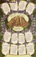 BELLE CPA GAUFFREE : CALENDRIER BONNE-ANNEE 1904 CLOCHES VIOLETTES FANTAISIE 1900 - Neujahr