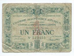 Chambre De Commerce D'Evreux 1 Franc  Mauvais état - Chambre De Commerce