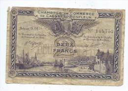 Chambre De Commerce De Caen Et Honfleur  2 Franc  Mauvais état - Camera Di Commercio