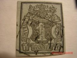 HANOVER, SCOTT# 1, 1g BLACK ON GRAY BLUE, USED - Hanover