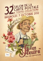 ILLUSTRATEUR CROSA  32 ÈME SALON DE BRIGNOLES LES FLEURS AVEC SON JARDINIER CARICATURE DE JL BERSIA - Collector Fairs & Bourses