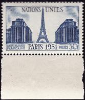 FRANCE  1951  -  Y&T  912  -  Nations Unies  -  NEUF**  Bas De Feuille - Cote  2.45e - France