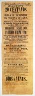 BON102 CUBA ESPAÑA SPAIN ANTILLES LARGE POSTER MUSEO DE CERA CIRCA 1860 45x15.5. - Announcements