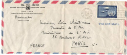 ONU - NAZIONI UNITE - UNITED NATIONS - NATIONS UNIES - 1957 - Air Mail - 15c - Executive Office Of The Secretary-Gene... - New-York - Siège De L'ONU
