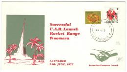 AUSTRALIA - 1975 - Coral Crab + Sturt's Desert Pea - Successful U.A.R. Launch Rocket Range Woomera - Australian-Europ... - 1966-79 Elizabeth II