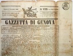 BON106 ITALIA ITALY NEWS PAPER WHITH POST PAID MARCK 1845 GAZZETA D GENOVA 40x29 - Italy
