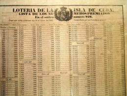 BON113 CUBA ESPAÑA SPAIN ANTILLES LOTTERY LARGE POSTER 1869 #826 44x60cm. LOTERIA - Lottery Tickets