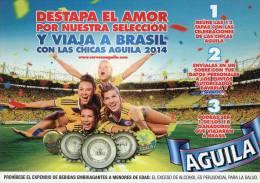 Lote PEP872, Colombia, Postal, Postcard, Cerveza Aguila, Beer, Woman, Brasil 2014, Soccer, Futbol - Colombia