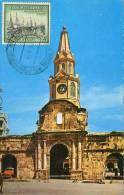 Lote PEP881, Colombia, Postal, Postcard, Tarjeta Maxima, Maximun Card, Cartagena, Torre Del Reloj, Clock Tower, 20260 - Colombia