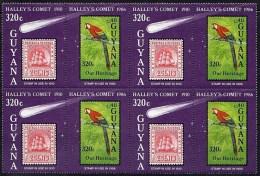 GUYANA 1986 HALLEY'S COMET MNH Blk Of 4 SPACE, BIRDS, PARROTS, STAMP On STAMP   Neuf ** Postfriesh - Verzamelingen