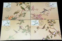 Maxi Cards(A) Taiwan 2002 Ancient Chinese Bird Manual Painting Stamps Fauna Flower
