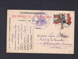 Carte Postale Franchise Militaire Henrion Leon Section T. M. 42 Paris Convois Automobiles Vers Chaumont En Bassigny - Marcophilie (Lettres)