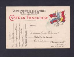 Carte Postale Franchise Militaire Thiriot Sergent Automobiliste Etat Major Du Gouverneur De Verdun Vers Chaumont 1914 - Cartes De Franchise Militaire