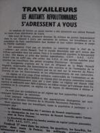 Tract : Travailleurs, Les Militants Révolutionnaires S'adressent À Vous (Pierre Overney) Signatures Multiples, 1972 - Non Classificati
