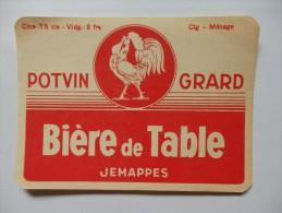 """Etiquette De Bière De Table """"Potvin Grard"""" Jemappes. - Birra"""