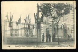 83 Var Hyères Les Palmiers 304 Caserne Vassoigne 22e Régiment Colonial D'Infanterie Entrée Principale Bar 1904 Carte Pli - Hyeres
