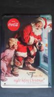 CARTEL CHAPA METALICA DECORATIVA PUBLICIDAD COCA COLA COKE PAPA NOEL SANTA CLAUS CHRISTMAS AÑOS 70/80 - TENGO MAS CHAPAS - Placas Con Esmalte & En Chapa